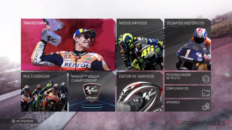 MotoGP19 menu