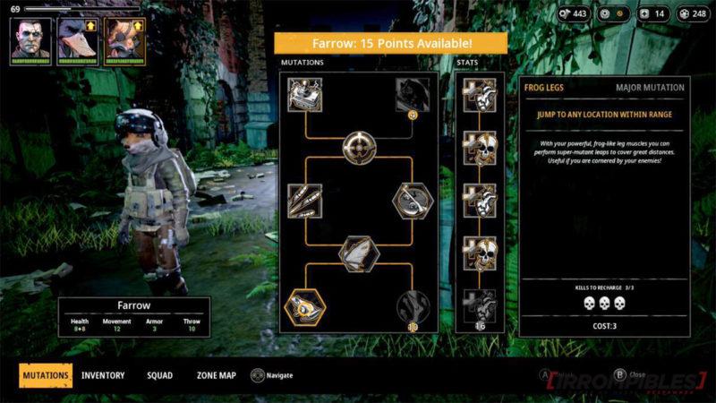 Mutant Year Zero skill tree